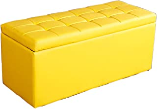 Storage Stool - Home Multi-Function Long A Variety of Colors Can Choose to Sit on The Sofa Leather Bench Long Footstool MENA UK (Color : Yellow, Size : L-80CM)