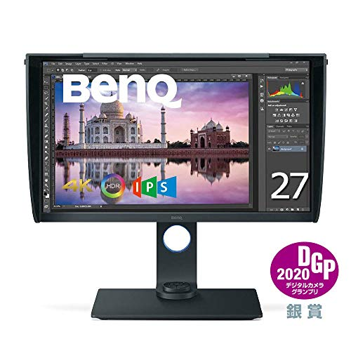 BenQ カラーマネージメントモニター ディスプレイ SW271 27インチ/4K UHD/HDR対応/IPS/DP,HDMI,USB Type C(電源供給なし)搭載/遮光フード付