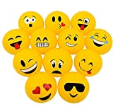 Novelty Treasures Popular Set of 12 Emoji Inflatable Beach Balls (12') Pool Inflate Birthday Party Favor Toy