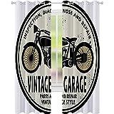 Cortina aislante para sombreado, sello de goma vintage para garaje, reparación de motocicleta, 52 x 95 cm de ancho para sala de estar o dormitorio, cáscara de huevo, color negro naranja claro