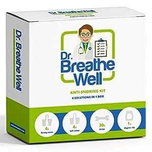 Dr. Breathe Well – Kit de dilatadores nasales antironquidos: 4 dilatadores nasales blandos, 4 dilatadores nasales firmes, 1 clip nasal magnético y 30 tiras nasales