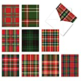 The Best Card Company - 10 Blank Christmas Note Cards with Envelopes (4 x 5.12 Inch) - Fun Assorted Holiday Notecard Set - Highland Holiday M6016