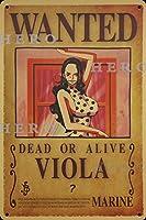 海賊アニメVIOLAビオラ さびた錫のサインヴィンテージアルミニウムプラークアートポスター装飾面白い鉄の絵の個性安全標識警告バースクールカフェガレージの寝室に適しています