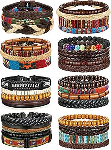 ODKKAYA 32 pulseras de cuero trenzadas hechas a mano con cuentas de madera de cáñamo y tribales para hombres y mujeres