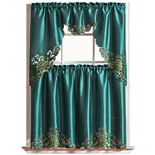 Passionate Bloom Kitchen Curtain Set/ Swag Valance & Tier Set. Nice Embroidery on Faux Silk Fabric with cutworks. (Teal)