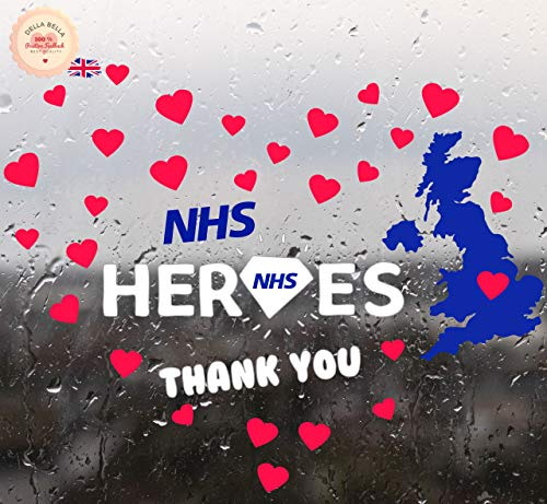 NHS Heroes Pegatinas Show Your Love Thank You NHS (Angel Design/Aplicación exterior de vidrio)