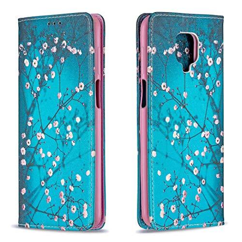 Miagon Brieftasche Hülle für Xiaomi Redmi Note 9S,Kreativ Gemalt Handytasche Case PU Leder Geldbörse mit Kartenfach Wallet Cover Klapphülle,Blau Blume