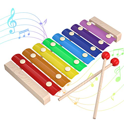 INFANT MOMENT Xilófono para Niños, Stem Educación Intelectual Juguetes Que Despiertan el Talento Musical, Kid's Melody 8 Llaves Instrumento de Madera con 8 Timbres, para 3 4 5 6 Edades Arriba