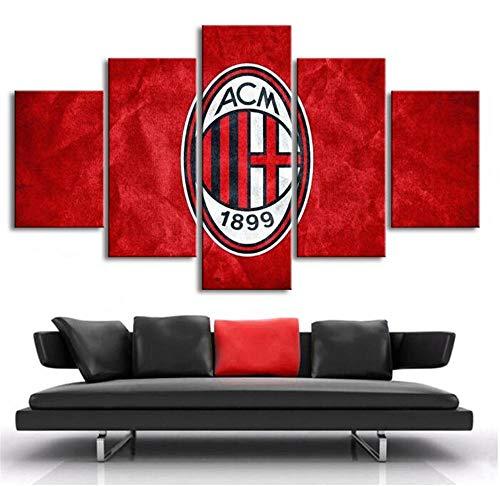ZKPWLHS Stampe e Quadri su Tela 5 Pezzi di Calcio AC Milan Bandiera Tela Poster Art Print Canvas Stampato Decorazione della Casa (Size_A) No Frame