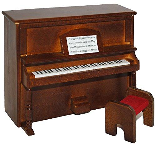 alles-meine.de GmbH Miniatur Klavier - Holz Maßstab 1:12 - mit Hocker - dunkel braun Puppenhaus Piano - Musikinstrument Musik Instrument - Pianoforte Tasteninstrument / Musikunte..