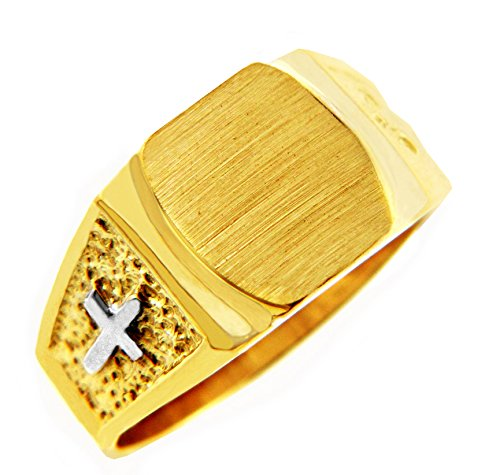 Pequeños Tesoros - Anillos Hombres 10 KT Oro 2 Colores 471/1000 Cruz Sortija De Sello