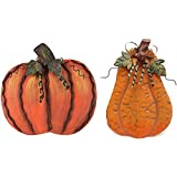 E-view Metal Flat Pumpkin Decor Free Standing Pumpkin Decoration for Home Yard Garden (Pumpkin Family-a)