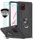 LeYi für Samsung Galaxy Note 10 Lite/A81 Hülle mit Panzerglas Schutzfolie(2 Stück),360 Grad Ring Halter Handy Hüllen Cover Magnetische Bumper Schutzhülle für Case Samsung Galaxy A81 Handyhülle Schwarz