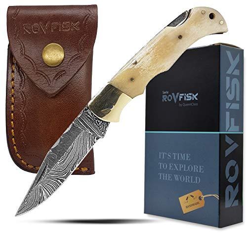 QueenClass Taschenmesser Klappmesser Carbonstahl - handgefertigtes Sport Outdoor Survival Messer aus Damast-Stahl handgeschmiedet (weiß)