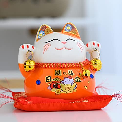 xuyang Maneki Neko - Caja de ahorros de cerámica, diseño de gato de la fortuna