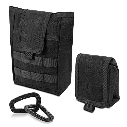 FUNANASUN Molle Dump Pouch Drawstring Magazine Utility Pouch Folding Dump Pouch Waist Bag 1000D Nylon Black