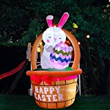 SEASONBLOW 8 FT LED Light Happy Easter Inflatable Bunny with Basket and Colorful Easter Eggs Decoration for Lawn Yard Garden Blow Up Decoration