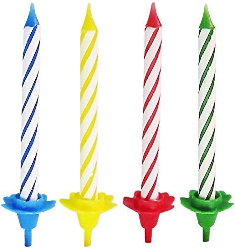 Fackelmann Kerzen + Kerzenhalter, Geburtstagskerzen für den Kindergeburtstag, Kuchenkerzen (Farbe: Rot, Blau, Gelb, Grün), Menge: 24 Kerzen, 12 Kerzenhalter