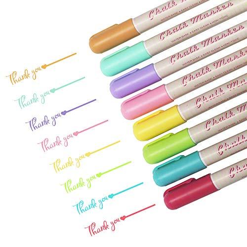 Hbsite 8 feine Neon Kreidestifte für Tafel,Fenster,Bemalen Stein,Glasmalstifte, Tafelstift & Whiteboard Marker Keramik Feucht abwischbar