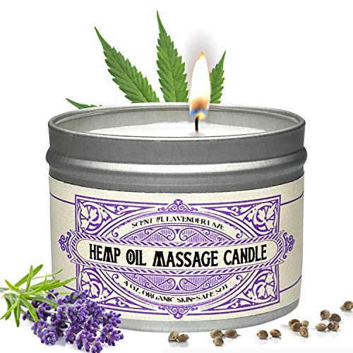 Massage Oil Candle For Pure Relaxation - Made From Organic Hemp Seeds Oil - Amazing Gift For Women & Men By Alter Native - Made In The USA - Lavender Scent - 4 oz