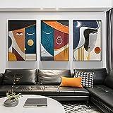 ZHJJD Figura Abstracta geométrica Lienzo Pintura Arte Moderno Poster e Impresiones Figura Caras Cuadro de Pared para Decoraciones de Salon de Estar 50x70cmx3 sin Marco