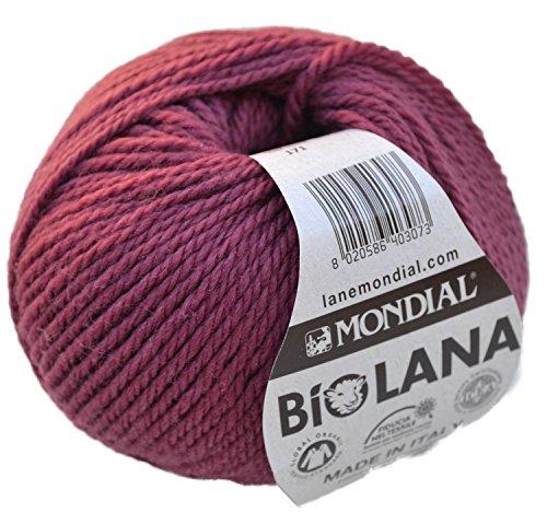 Lane Mondial Bio Lana BioLana Naturwolle Fb. 171 - Fuchsia, 50g Organic Wool, Biowolle, 100% Reine Schurwolle zum Stricken und Häkeln