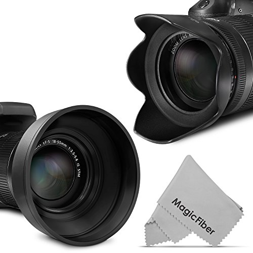 58MM Lens Hood Set (Tulip Flower + Collapsible Rubber Lens Hood)
