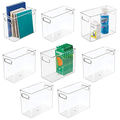 mDesign Plastic Home, Office Storage Organizer Bin with Handles - Container for Cabinets, Drawers, Desks, Workspace - BPA Free - for Pens, Pencils, Highlighters, Notebooks - 5' Wide, 8 Pack - Clear