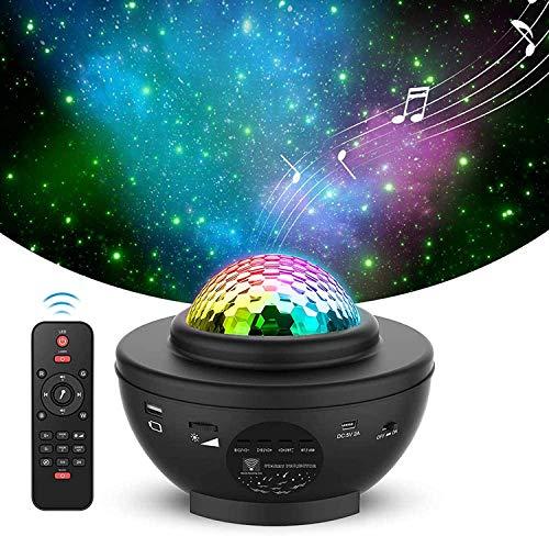Proyector de Cielo Estrellado, CompraFun Proyector de Luz Estrelar USB, Luz Nocturna Giratoria, 21 Modos de Luz Ajustables, con Control Remoto Función de Temporizador Bluetooth Reproductor de Música