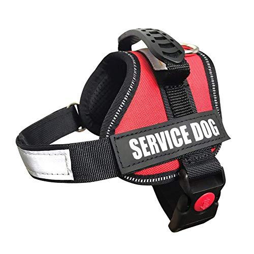 ALBCORP Service Dog Vest Harness - Reflective - Woven Polyester & Nylon,Comfy Mesh Padding, XXS, RED