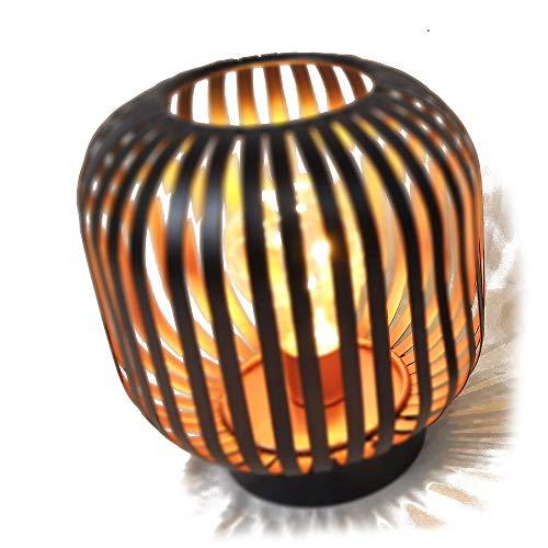 HAB & GUT LED Deko Windlicht Kupfer L238- PULPO Lampe Metall Tischlampe Streifen