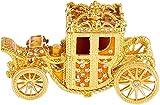 Oiuytghjkl Kürbiswagen emaillierte Schmuckschatulle mit klappbarem dekorativem Kristallornament, Gold