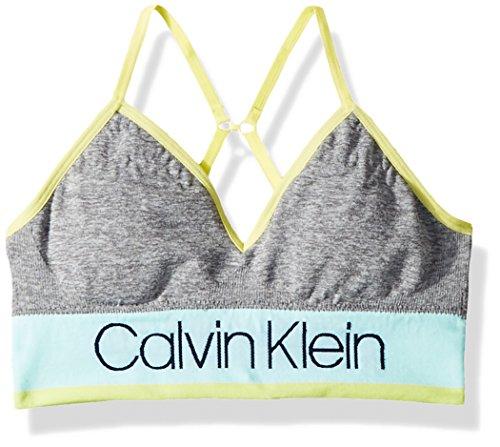 Calvin Klein Big Girls' Seamfree Long Line Bralette, CK Stripe Logo Bra Mint