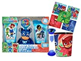 UPD PJ Masks 6pc Wash Buddy Bath Set! Shampoo, Body Wash, Bath Hook, Scrubby, Rinse Cup & Time to Get Out Bath Timer! Plus Bonus PJ Masks Character Stickers!