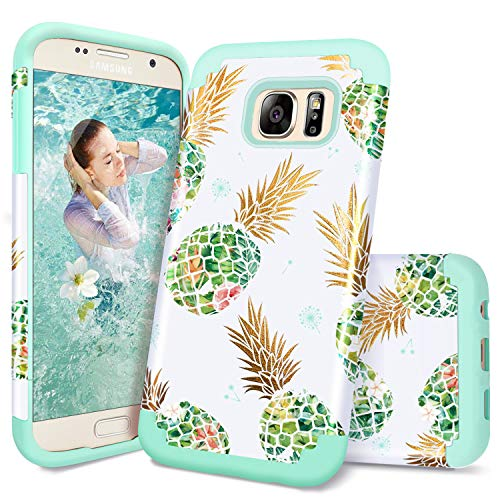 Samsung S7 Case,Galaxy S7 Case,Casewind Samsung Galaxy S7 Case Pineapple Glitter Hard PC Soft Silicone 2 in 1 Hybrid Protective Shockproof Bumper Anti-Scratch Samsung S7 Case for Girls,Mint Green