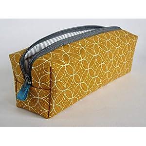 Federmäppchen Federtasche Circles aus festen Canvasstoff mit Ornamenten. Schlamper Stiftetasche Etui Handmade