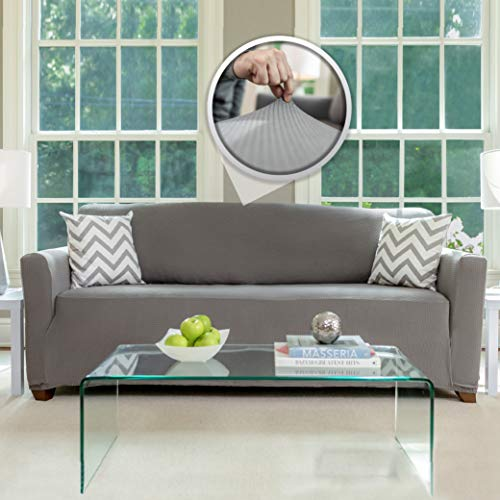 Sofa, Shield Original Fitted 1 Piece Large Sofa Protector, Many Colors, Seat Width to 70 Inch, Stretch Furniture Slipcover, Fastener Straps, Spandex Couch Slip Cover Throw for Pets, Dogs, Sofa, Gray