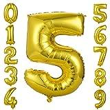 GWHOLE Globos Número 5, Globo Color Oro Globo Grande de Aluminio 1 2 3 4 5 6 7 8 9, Globos para Fiestas de Cumpleaños, Aniversario