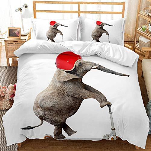 Bedclothes-Blanket Juego de Cama 150,Ropa de Cama de impresión Digital 3D Conjunto de Tres Piezas de Elefantes Animales-6_200 * 200 cm