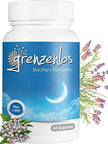 grenzenlos® Baldrian hochdosiert 60 Kapseln + Melatonin- und Serotonin Vorstufe L-Tryptophan, Lavendel & Passionsblume - hochwertiges Markenprodukt aus Deutschland zur abendlichen Anwendung - vegan