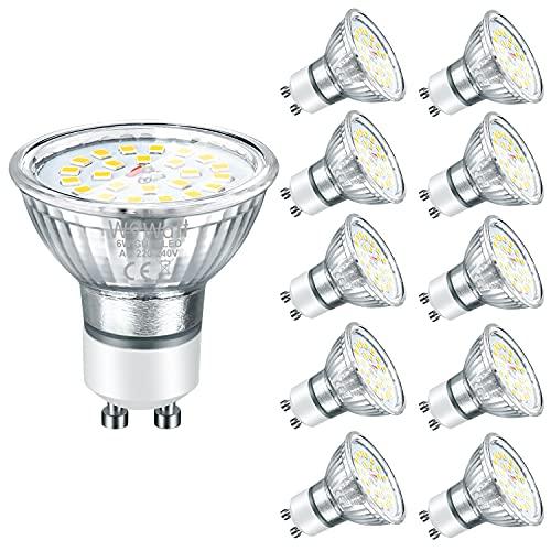 Wowatt 10er GU10 50W LED Kaltweiss LED GU10 Lampe Tageslichtweiß 6000K 6W 230V ersetzt 50W 35W Halogenlampe 600lm Hohe CRI 83Ra AC220V-240V 120° Abstrahwinkel LED Birnen Leuchtmittel