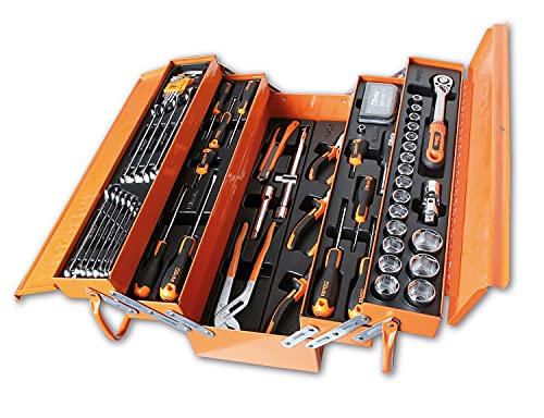 Beta Tools Beta 2120L-E/T91-I Cassetta portautensili, a cestello, in lamiera e assortimento di 91 Utensili per Manutenzione Generale