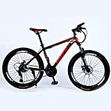 Novokart-Mountain Bike Unisex, Bicicletas montaña 21/24/27 Pulgadas, MTB para Hombre, Mujer, con Asiento Ajustable, Frenos de Doble Disco,Negro y Rojo, 21-Speed Shift,Rueda de radios