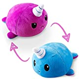 TeeTurtle   The Original Reversible Narwhal Plushie   Patented Design   Blue and Purple   Show Your Mood Without Saying a Word!