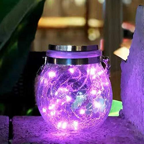 YUI Lámparas Solares Mason Jar Luz De Vidrio Luces Colgantes De Jardín Impermeables Al Aire Libre para Decoración, Hogar, Fiesta, Pared, Mesa 6 Piezas, Púrpur