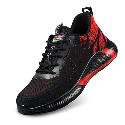 Calzado de Seguridad Deportivo Hombre Botas de Trabajo Mujer Botas de Seguridad Botas Puntera de Acero Botas de Seguridad Zapatos de Seguridad Verano Tenis de Seguridad para Hombre (Rojo 45)