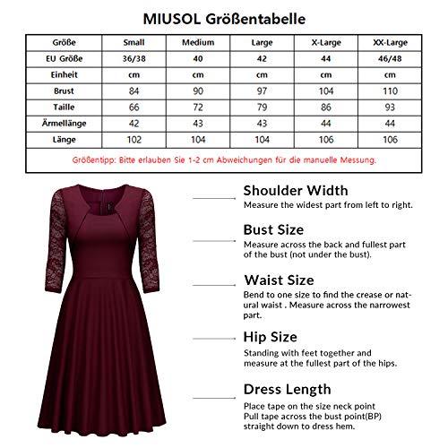 Miusol? Damen Abendkleid Elegant Cocktailkleid Vintage Kleider 3/4 Arm mit Spitzen Knielang Party Kleid Weinrot Gr.M - 3