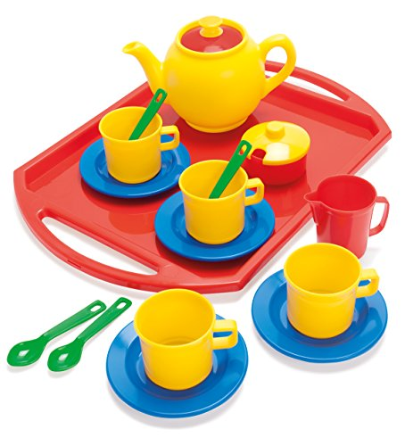 Dantoy Tea Set on Tray, Role Play Tea Party with 18 Pieces Pretend Toys for Kids - Multi-Colour