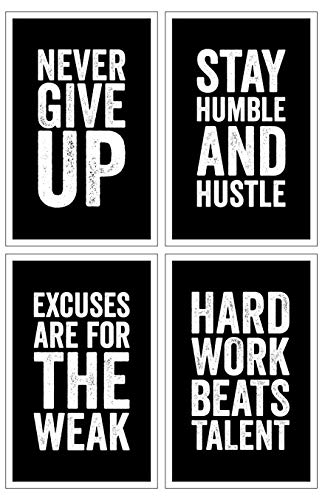 Damdekoli Motivational Posters - 11x17 Inches, Set of 4, Black