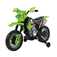 Motocross style ride on motor bike Comes with bright front spot headlights, musical and horn sound effect Play time can last for 45mins based on constant riding Suitable for age 3-6, Max. Load capacity: 25kg. Motor: 25W. Speed: 2.5km/h Includes: 1 se...